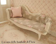 Shabby chic chaise long day bed 1/12 dolls by FloraDollhouse