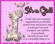 A sweet card for a new born baby girl. Free online A Baby Girl How Wonderful ecards on Congratulations Congratulations To You, Online Greeting Cards, New Baby Cards, Big Hugs, Funny Cards, Name Cards, New Parents, New Job, Card Sizes