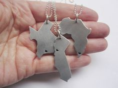 Hand stamped jewelry united states and africa aluminum heart necklace