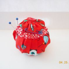 YO YO Pincushion. Handmade Red Sewing Themed by Happy2BCrafty