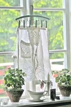 Vintage Apron hanging on a window sill
