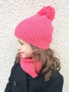 DIY – Tuto tricot snood au point mousse et bonnet à pompon (sans  diminution, hyper simple!), spécial débutantes! d45a310e62c