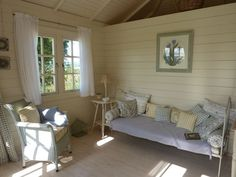She shed decorating ideas shabby chic summer house interiors shabby chic shack cabin summerhouse from garden Shabby Chic Interiors, Cabin Interiors, She Shed Decorating Ideas, Posh Sheds, Summer House Interiors, Shed Interior, Interior Design, Sofas, Woman Cave
