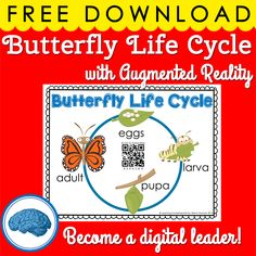 Watch the butterfly life cycle using augmented reality! Bring technology into your classroom this spring.  #aurasma #digitalleadership #butterflyunit
