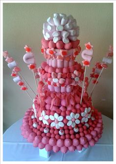 Fabulous celebration of sweets Candy Topiary, Candy Kabobs, Cake Bouquet, Bar A Bonbon, Sweet Trees, Marshmallow Treats, Candy Art, Candy Cakes, Fiesta Party