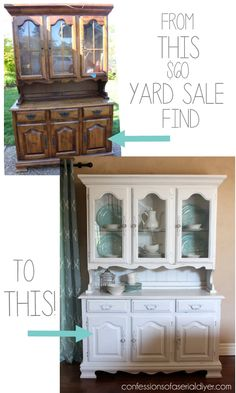 $60 Chalk Painted Yard Sale Hutch