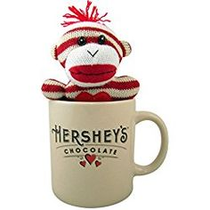 Striped Sock Monkey in Ceramic Hershey's Chocolate Coffee Mug, 24 Ounce