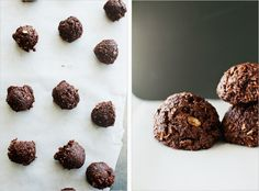 chocolate coconut bites  1 1/2 cups dried, unsweetened coconut (sometimes tough to find at markets, easy to get online)    1/2 cup natural cocoa powder    1/3 cup rolled oats    1/2 cup grade b maple syrup    1/4 cup extra virgin coconut oil    1/2 tsp. vanilla extract    1/4 tsp. cinnamon
