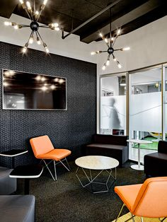 8 Design-Minded Offices in the U. Office Furniture Design, Workspace Design, Office Interior Design, Office Designs, Office Ideas, Corporate Office Design, Corporate Interiors, New York City, Exposed Ceilings
