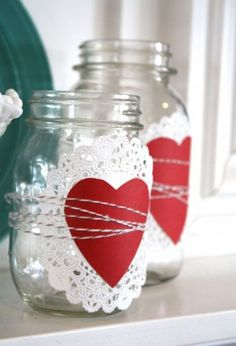 Use a paper doily, cutout heart, and twine to transform a few Mason jars into an lovely craft that can be displayed on your mantel this Valentine's Day (hey, it's only two months away!). Try this tutorial by The Pleated Poppy or see our 15 best ways to use a Mason jar for Valentine's Day.