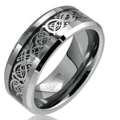 Tungsten Carbide 8 mm Flat Wedding Band Ring Inlaid Celtic Dragon Pattern Beveled Edges sizes 6 to 13 FlameReflection. $19.99. Celtic Dragon Scroll Inlay. High Polished. Comfort Fit