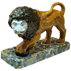 Antique Pottery Prattware Figure Of A Lion On Base C1800