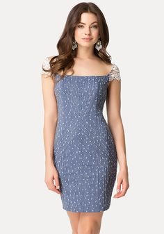 bebe chambray sequin dress with lace shoulder