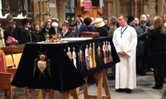 King Richard III's coffin inside Leicester cathedral where he will be reburied.