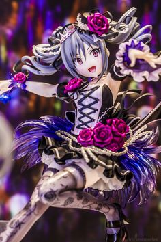 ☄★○ collectible anime figures ~ like 2D come to life ♥ anime girl - gothic dress -  ribbons - roses - gothic lolita - lace - stockings - twin tails - tiara - glowing - cute - kawaii ○★☄