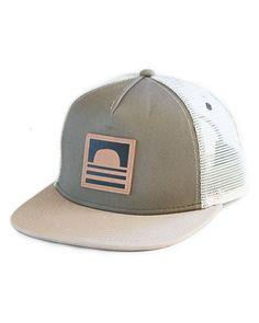 Sundance Beach Leather Logo Snapback Trucker Hat Green