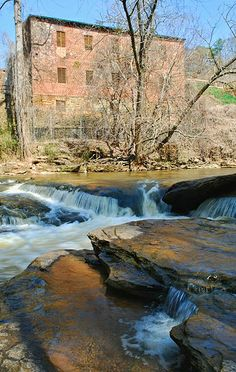 Mill and Creek | Roswell GA    This is a section of the Vickery Creek, and in the background the remains of one of the textile mill buildings of Roswell which is now abandonded. This was a machine shop built in 1853.  w