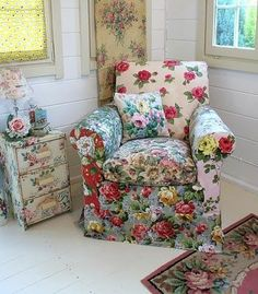 Old upholstered chair; recovered with fabric, sheet, bedspread salvaged remnants; mix and match; painted end table; cottage style home decor; Upcycle, Recycle, Salvage, diy, thrift, flea, repurpose, refashion! For vintage ideas and goods shop at Estate ReSale & ReDesign, Bonita Springs, FL