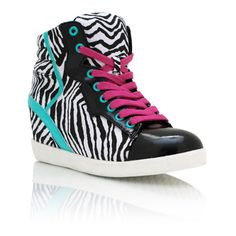 zebra contrast wedge sneakers ($48) ❤ liked on Polyvore