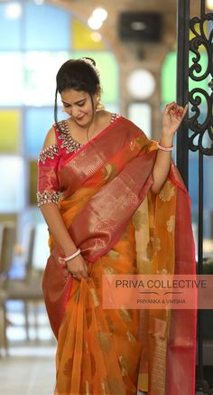Discover thousands of images about Priva Collective Collections. A Road MLA Colony Banjara Hills Hyderabad - Contact : 9160560480 to New Saree Designs, Wedding Saree Blouse Designs, Saree Blouse Neck Designs, Saree Blouse Patterns, Fancy Blouse Designs, Kurta Patterns, Kota Silk Saree, Khadi Saree, Silk Sarees