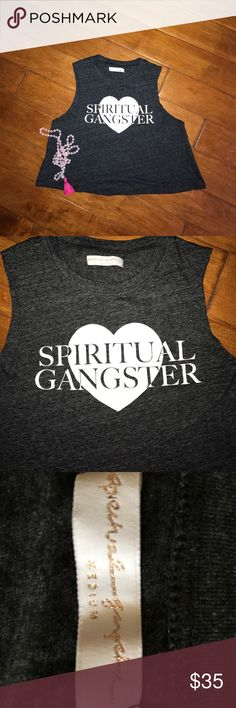 Spiritual Gangster crop tank Heathered grey crop tank. With spiritual gangster on chest on white. Sz M. Very loose flowy fit, easily fit a szS-L. Soft thin jersey type material. ✨EUC ✨ Spiritual Gangster Tops Crop Tops