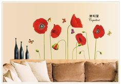 Red Flowers Coquelicot Corn Poppy Butterflies Flower Bud-Wallpaper