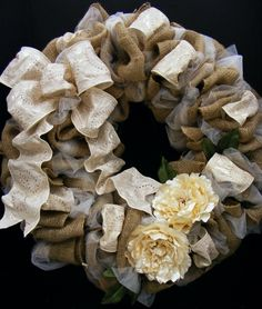 Burlap / tulle mixed wreath with Michael's high quality, beautiful Luxe Ribbon. Annette at Michaels Arts & Crafts Madison, TN