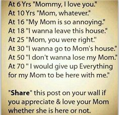 I miss mine at 43....make sure u tell urs how very much u love her!!!!