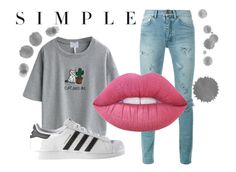 """""""Casual"""" by emilybates02 ❤ liked on Polyvore featuring Yves Saint Laurent, WithChic, Lime Crime and adidas"""