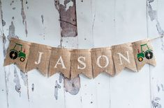 Personalize this tractor banner with your own wording, perfect for a John Deere or truck birthday party or a boys bedroom in a truck theme. Just