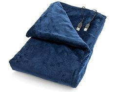 USB Heated Shawl and Lap Blanket - Blue Color - USB Heated Throw Perfect Alternative to an Office Desk Heater