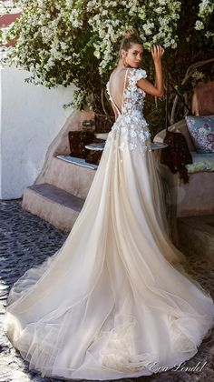 eva lendel 2017 bridal cap sleeves off the shoulder sheer bateau neckline heavily embellished bodice ivory color romantic a  line wedding dress open v back royal train (holly) bv -- Eva Lendel 2017 Wedding Dresses