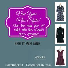 New Year New Style - eShakti Dress Giveaway Hosted by:  Savory Savings Sponsored by: eShakti co-hosted by: Here We Go Again...Ready & Susie Q-Pons & Giveaways The new year is right around t...