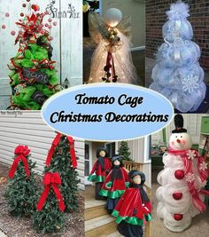 Tomatoe cage Christmas decor