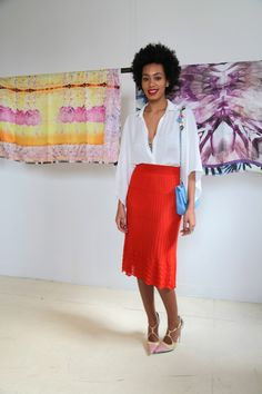 Style inspiration..this is so me! bright long pencil skirt and white blouse