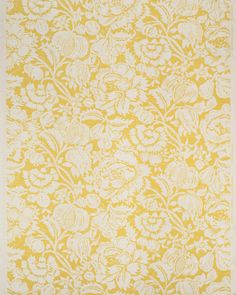 Bennison Fabrics - Great Floral - Yellow on Oyster