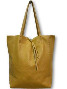 "Mustard Tote Leather Bag by Jijou Capri Made in Italy. Interior zip pocket . 14""W x 16""D x 5""H.  Double handles, open top."