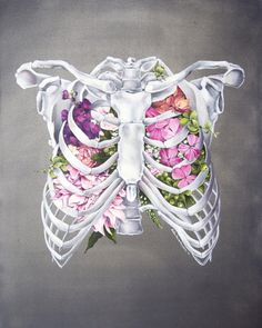 Floral Ribcage Print of Oil Painting - Anatomical Art Print - Human Body - Medical Art Floral Anatomy: Ribcage Print of Oil Painting by tinyartshop Cage Thoracique, Boys With Tattoos, Skeleton Art, Medical Art, Medical Drawings, Gcse Art, Skull Art, Art Inspo, Floral
