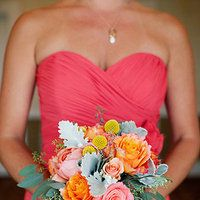 Flowers & Decor, Real Weddings, Wedding Style, orange, pink, Bridesmaid Bouquets, Summer Weddings, West Coast Real Weddings, Summer Real Wed...
