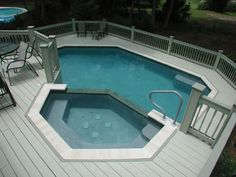 Geometric Pool With Spa Above Ground Decks In Pools