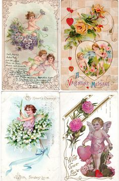 Lot of 4 Antique Victorian Embossed Valentine Postcards with Cherubs Cupids and Flowers