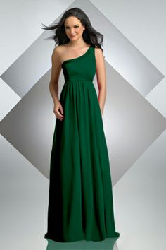 Long, hunter green bridesmaid dress by Bari Jay. | Wedding Ideas ...