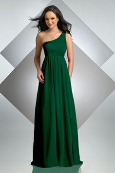 Long, hunter green bridesmaid dress by Bari Jay. | Wedding Ideas ...
