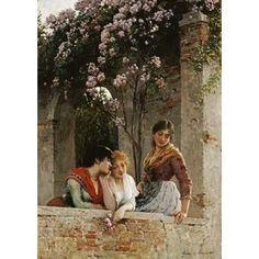 On The Terrace Canvas Art - Eugene De Blaas (20 x 28)