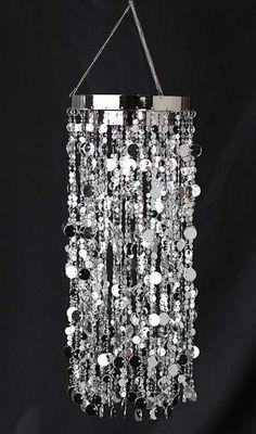 Silver Metallic Decorative Hanging Chandelier - Pearl Spools - Bead Garlands - Wedding Decorations - Wedding Supplies