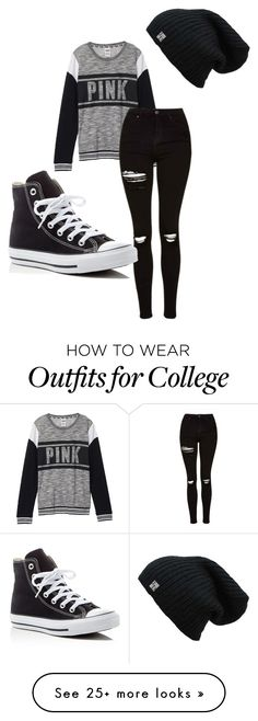 """Casual"" by meridan101 on Polyvore featuring Victoria's Secret, Topshop and Converse"