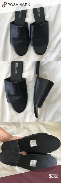 Black Leather Mule Excellent conditions! Worn twice, unfortunately purchased these one size too big. So comfy and super cute, they go with virtually anything! Can't wait to re purchase in my size (UK: 8 ; US: 9) ASOS Shoes Sandals