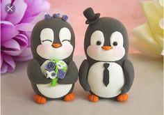 Eu Amo Artesanato: Pinguins noivinhos com molde