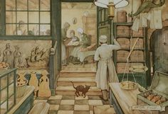 """Ginger Bread"" by Anton Pieck Anton Pieck (Dutch 1895-1987) painted many scenes of everyday life in the Netherlands. This particular painting shows a baker looking into his back room, as he watches a group of women making speculaas cookies. Speculaas in many different designs can be seen throughout the shop.  Image courtesy of Salus-Holland  Thomas Collection - related items"
