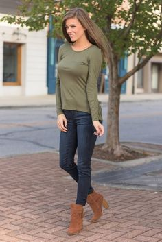 """""""All About Me Top, Olive"""" If you are all about looking cute and being comfy then you are going to be all about this top! This top is very similar to a top we had in stripes that you adored!  #newarrivals #shopthemint"""